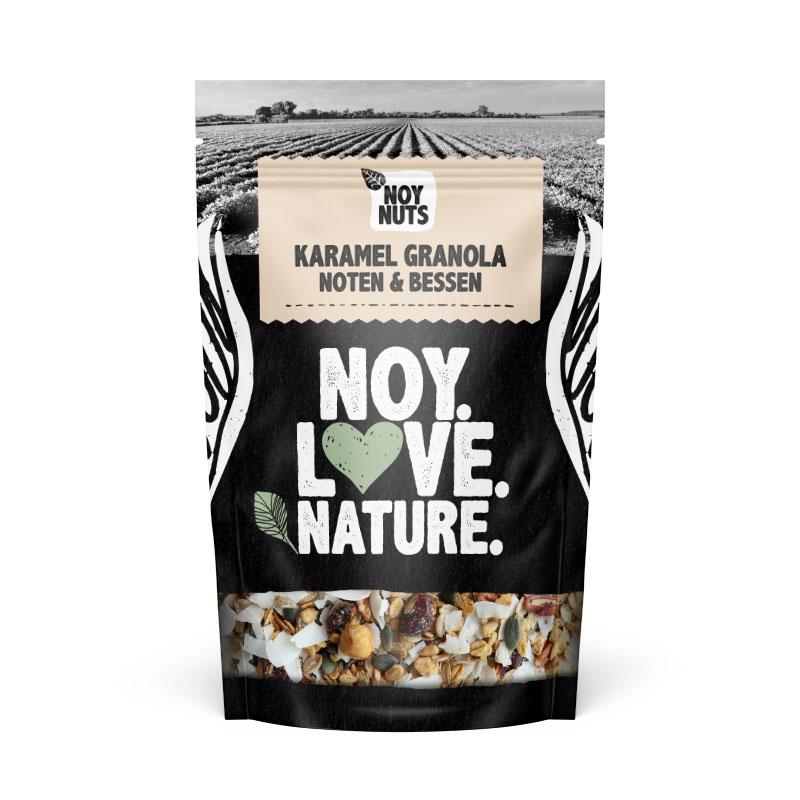 Karamel granola noten en bessen